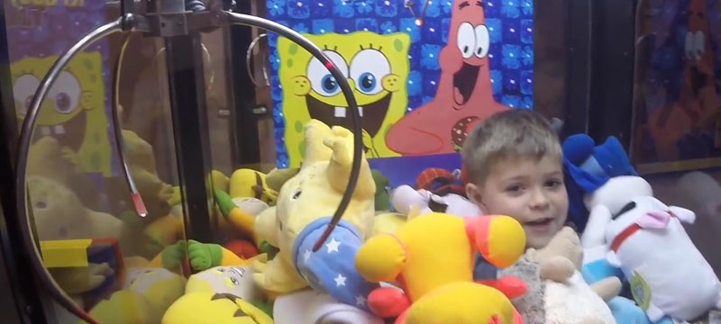 children in claw machine