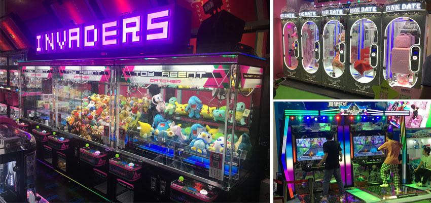 different arcade game scenes