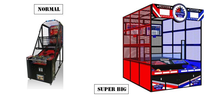 basketball arcade machine size