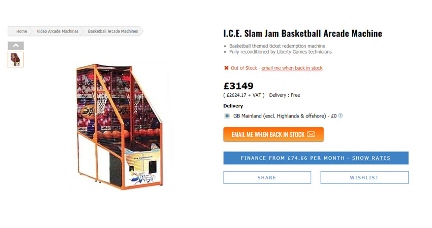 libertygames basketball arcade machine