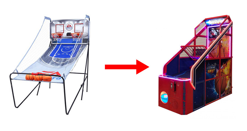 The change course of basketball arcade machine