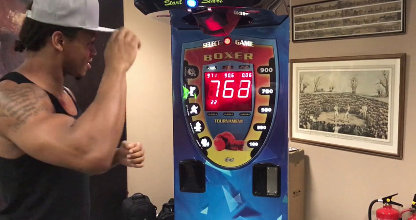 try to play boxing arcade machine