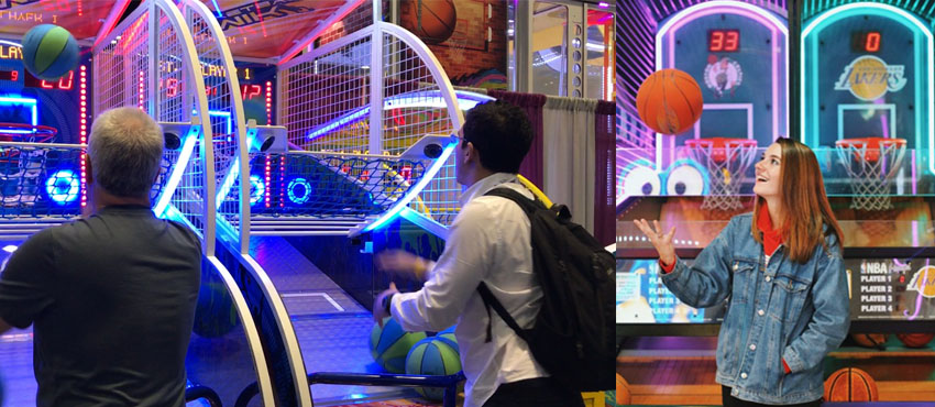 play basketball arcade game happy